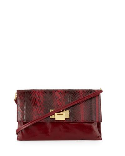 Dakota Leather & Snake Crossbody Bag, Wine