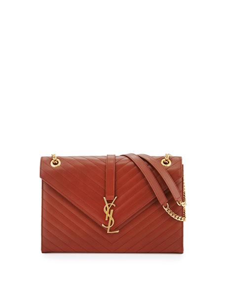 Cassandre Quilted Large Flap Shoulder Bag, Medium Brown