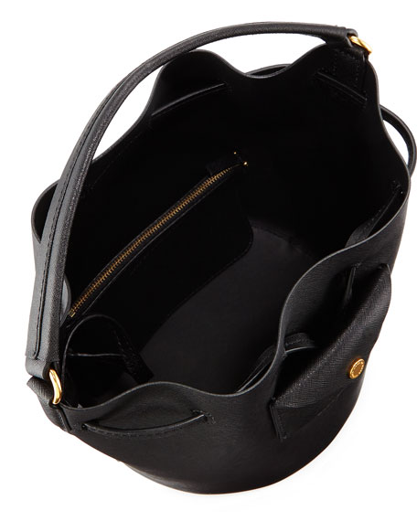 Metropoli Saffiano Bucket Bag, Black
