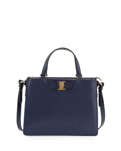 Tracy Vara Saffiano Tote Bag, Oxford Blue