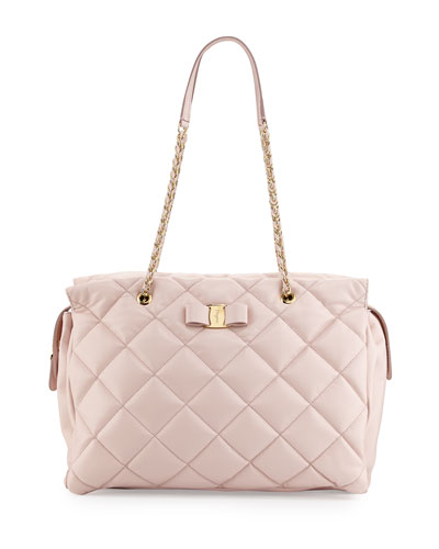 Ginette Vara Quilted Leather Shoulder Bag, Macaroon