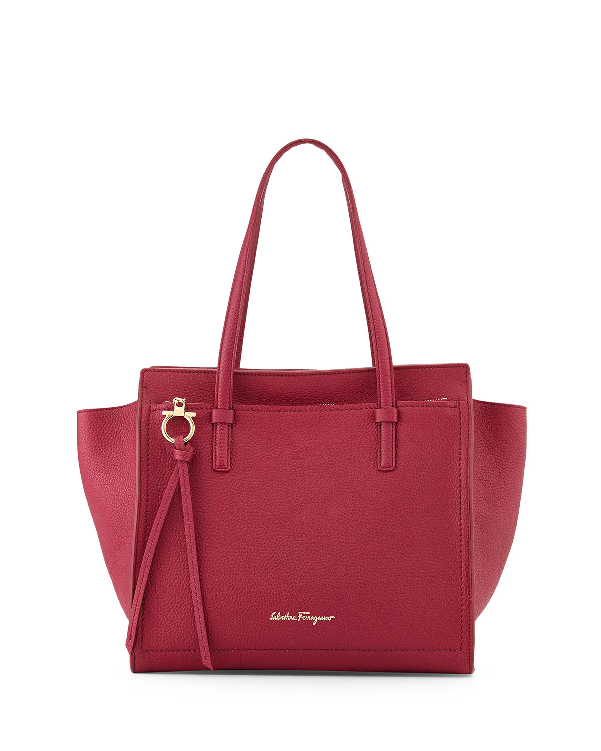Ferragamo Neiman Marcus Salvatore Ferragamo Amy Gancini Small Shopper Tote Bag Wine