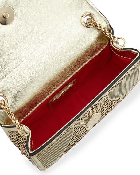 Sweet Charity Laser-Cut Mini-Crossbody Bag, Gold