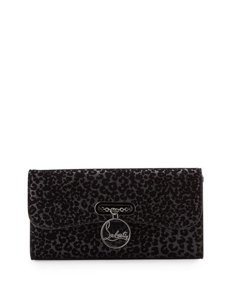 Riviera Glitter Leopard-Print Evening Clutch Bag, Black