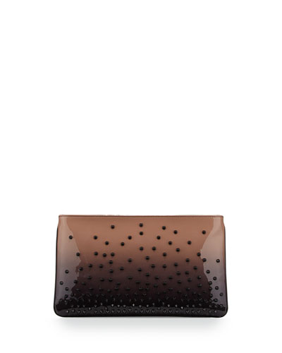 Loubiposh Degrade Spiked Evening Clutch Bag, Black/Nude