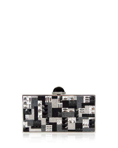 Judith Leiber Couture Perfect Rectangle Crystal Clutch Bag, Silver Multi