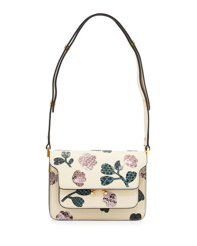Mini Trunk Python-Flower Crossbody Bag