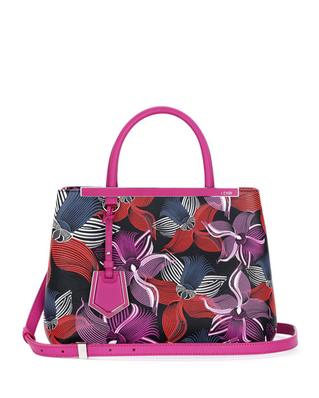 2Jours Petite Leather Orchid-Print Satchel Bag, Magenta