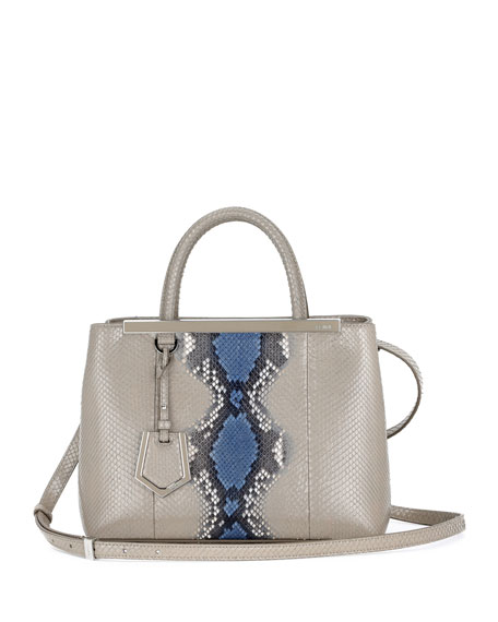 Fendi 2Jours Petite Python Satchel Bag, Natural Blue