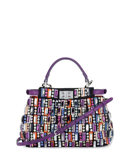 Image 1 of 2: Peekaboo Mini Jeweled Satchel Bag