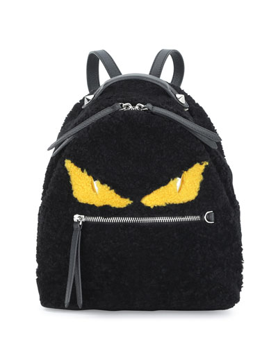 Mini Monster Shearling Fur Backpack, Black