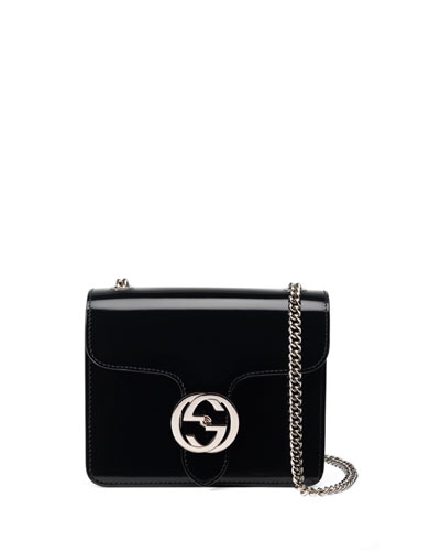 Interlocking Polished Leather Shoulder Bag, Black