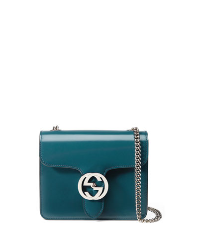 Interlocking Polished Leather Shoulder Bag, Blue