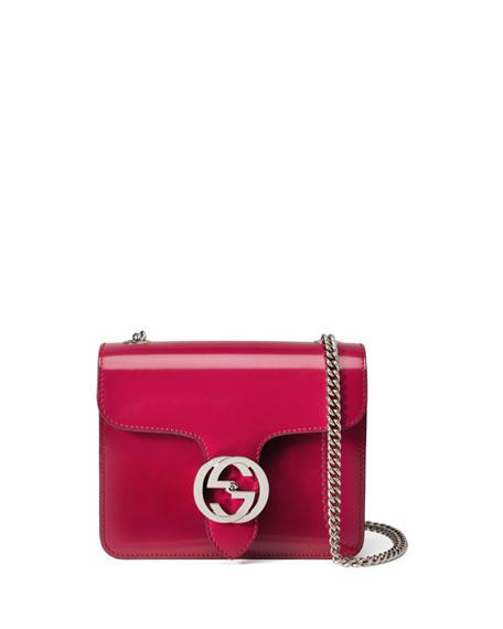 Interlocking Polished Leather Shoulder Bag, Bright Pink