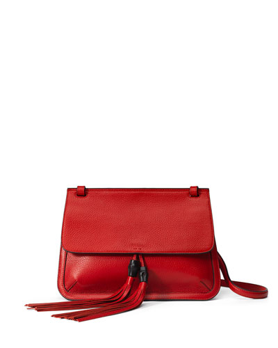 Bamboo Daily Leather Flap Shoulder Bag, Red