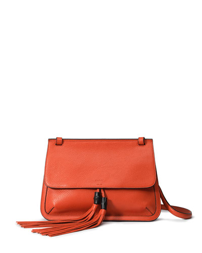 Bamboo Daily Leather Flap Shoulder Bag, Orange
