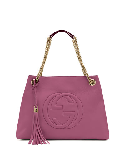 Soho Leather Medium Chain-Strap Tote Bag, Pink