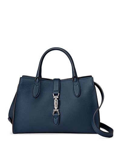 Jackie Soft Leather Top Handle Bag, Navy