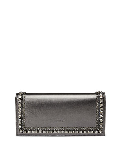 Broadway Metallic Leather Evening Clutch Bag with Crystals, Gray