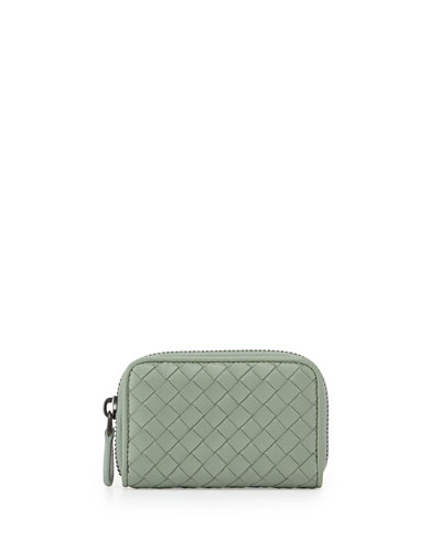Ardoise Woven Mini Zip-Around Wallet, New Slate