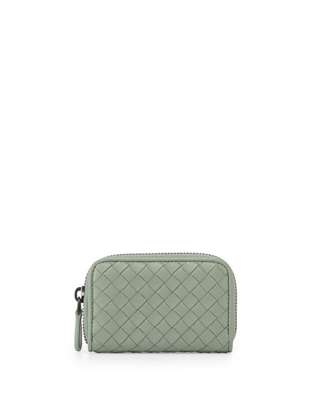 Ardoise Woven Mini Zip-Around Wallet, New Slate
