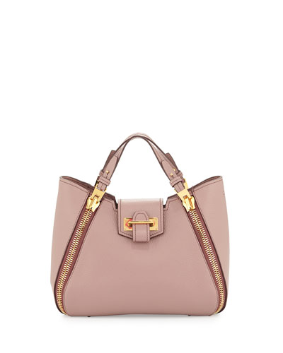 Sedgwick Mini Double-Zip Leather Tote Bag, Blush Nude