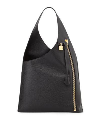 Alix Zip Hobo Bag, Black