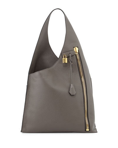Alix Zip Hobo Bag, Dark Gray