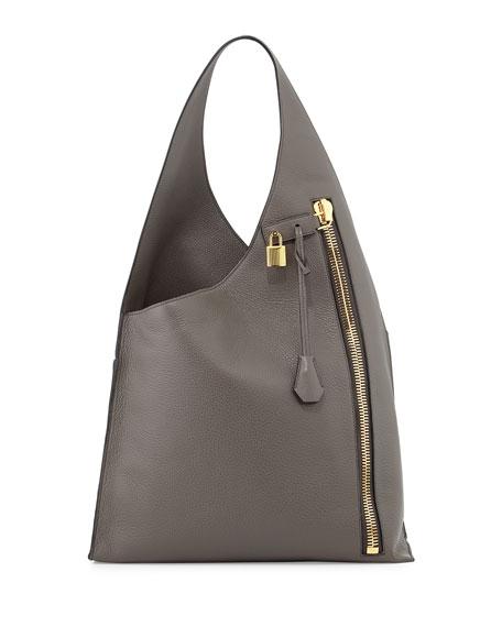 Alix Zip Hobo Bag, Dark Gray