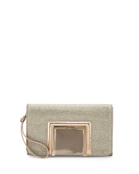 Jimmy Choo Alara Glitter Lamé Clutch Bag, Light