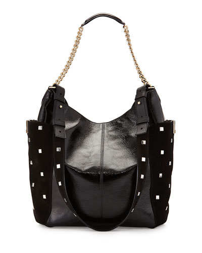 Anna Crinkled Leather Shoulder Bag, Black