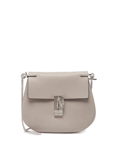 Drew Mini Leather Shoulder Bag, Gray