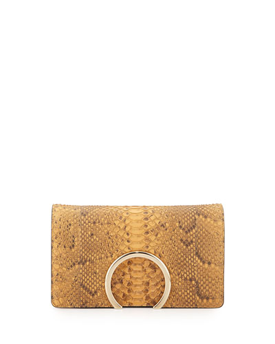 Gabrielle Python Clutch Bag, Tan