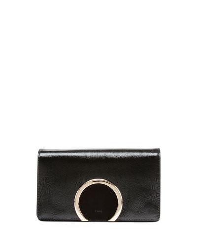 Gabrielle Patent Clutch Bag, Black