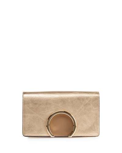 Gabrielle Metallic Clutch Bag, Pale Gold