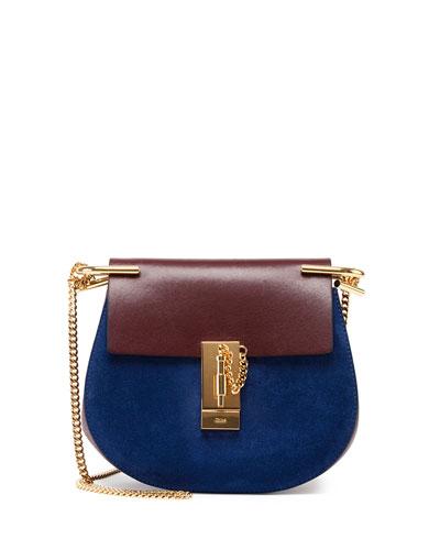 Drew Mini Suede Shoulder Bag, Brown/Blue