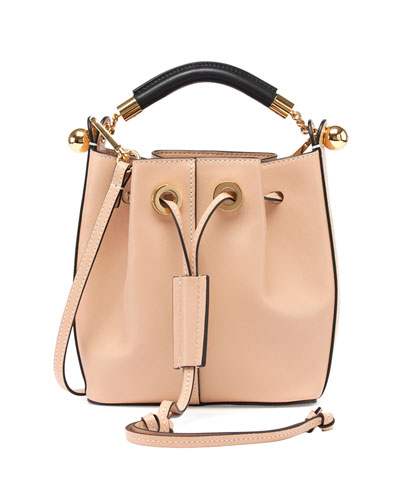 Gala Small Leather Bucket Bag, Nude