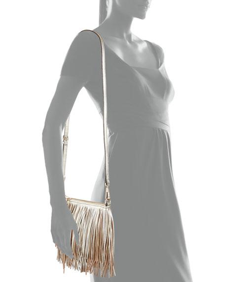 Rebecca Minkoff Finn Leather Fringe Crossbody Bag, Light Gold