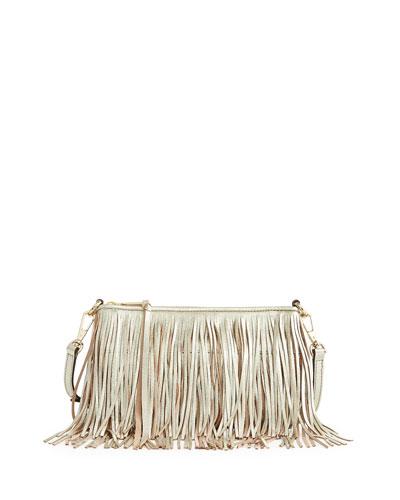 Finn Leather Fringe Crossbody Bag, Light Gold