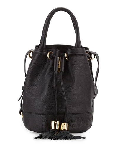 Vicki Leather Bucket Bag, Black