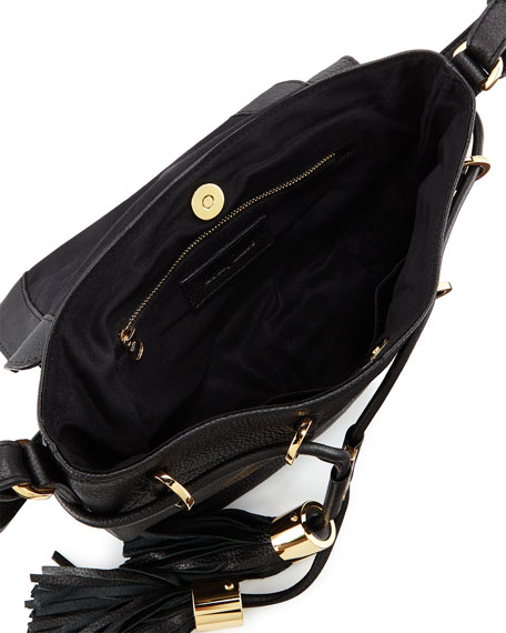 Vicki Vachetta Leather Crossbody Bag, Black