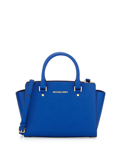 Selma Medium Top-Zip Satchel Bag, Electric Blue