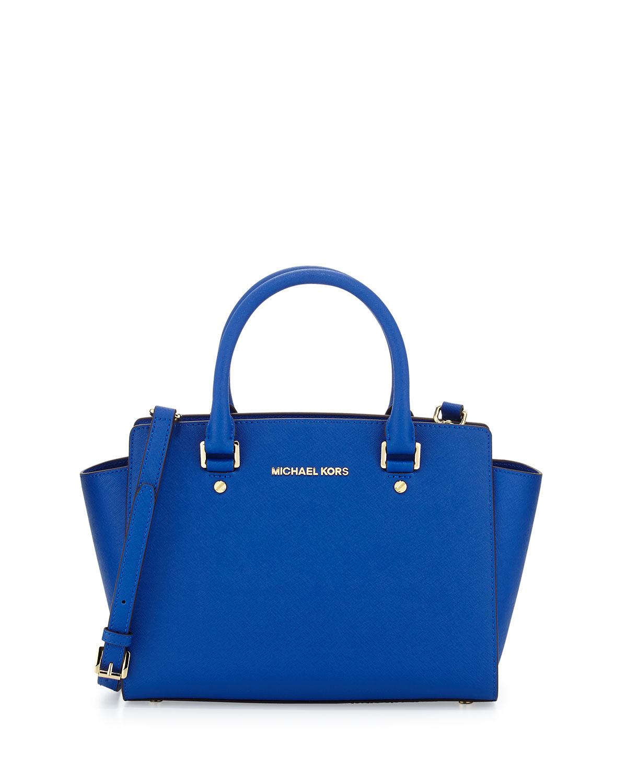 Selma Medium Top Zip Satchel Bag Electric Blue