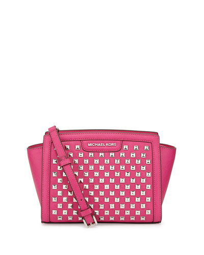 Selma Pyramid-Stud Medium Messenger Bag, Raspberry