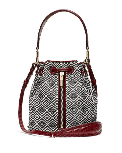 Cynnie Woven Mini Bucket Bag, Black/White