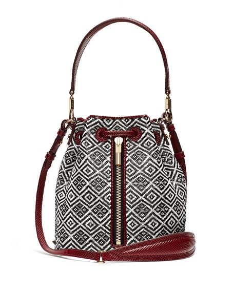 Elizabeth and James Cynnie Woven Mini Bucket Bag,