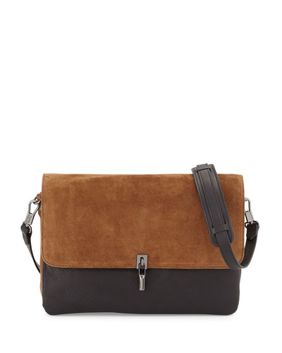 Cynnie Suede/Leather Messenger Bag, Black/Coco