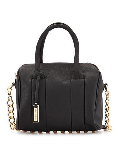 Stevie Faux-Leather Satchel Bag, Black