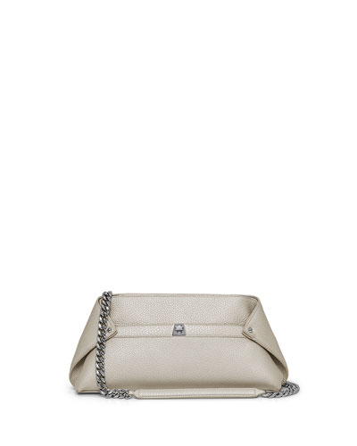 Ai Small Cervo Metallic Leather Pochette, Stucco