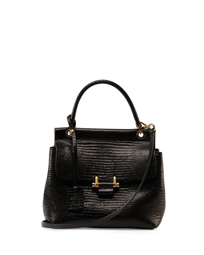 Lizard-Embossed Small Top-Handle Flap Bag, Black